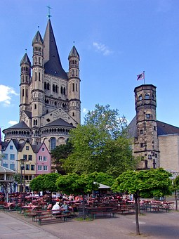 Cologne, Church, Beer Garden, Germany