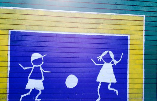 School, Ball Flat, Colorful, Painting