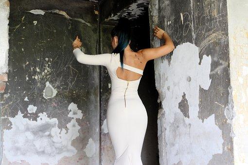 Girl, Back, Dress, White, Ruins, Sensual, Forms
