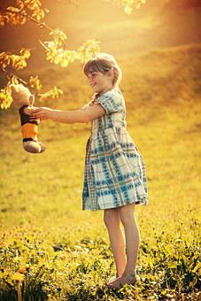 Person, Human, Child, Girl, Dress, Teddy, Teddy Bear