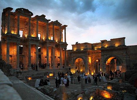Turkey, Sky, Clouds, Celsus Library, Ephesus, Dinner