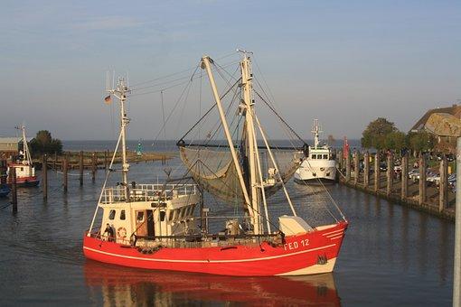 Fishing Vessel, Ship, Boat, Port, Sea, Water, North Sea