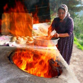 Bread, Village, The Village Woman, Tandoor, Flame