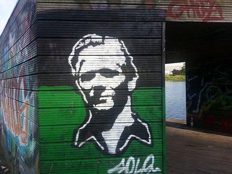 Graffiti, Street Art, Hut, Log Cabin, At The Lake