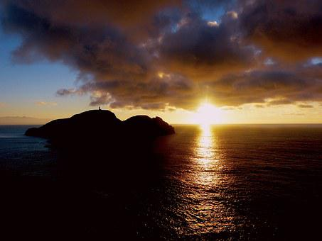 Portosanto, Sunset, Sea Lighthouse, Madeira, Romantic