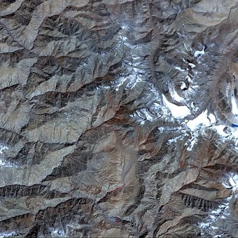 Aerial View, Satellite Photo, Tibet, Map, Atlas, Land