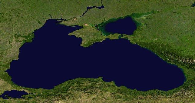 Black Sea, Sea, Aerial View, Land, Map, Atlas