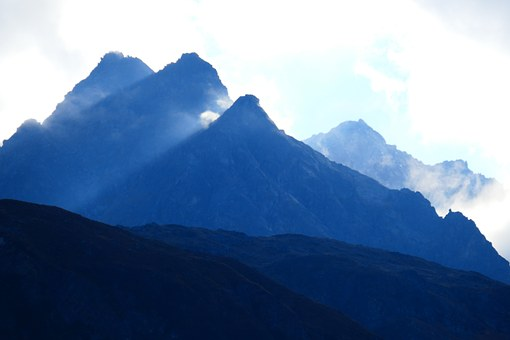 Mountains, Back Light, Mood, Blue, Cloudy, Hazy, Sun