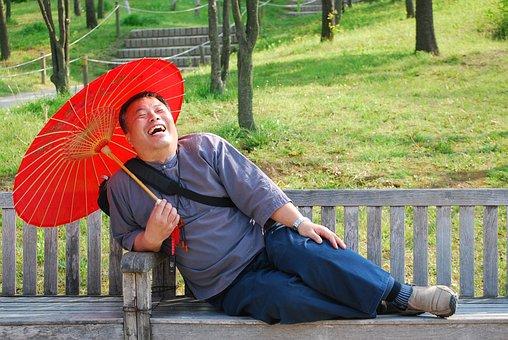Man, Men Who, Japanese, Laughter, Bench, Umbrella, Park
