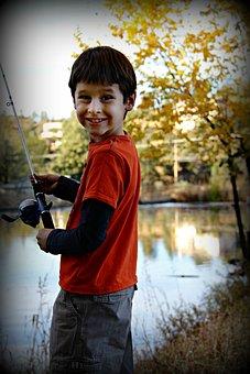 Boy, Fishing, Happy, Proud, Smiling, Recreation, Child
