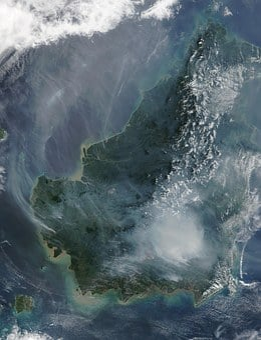 Borneo, Forest Fire, Satellite Image, Fire, Smoke