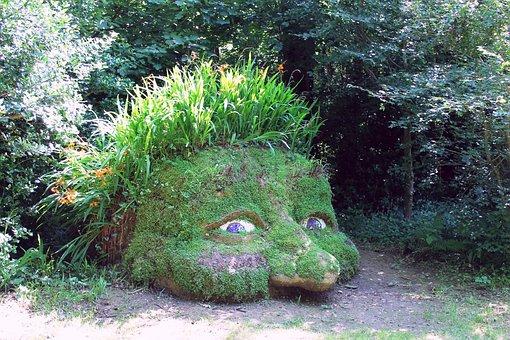 Madeira, Sculpture, Stone, Art, Plant, Green, Face