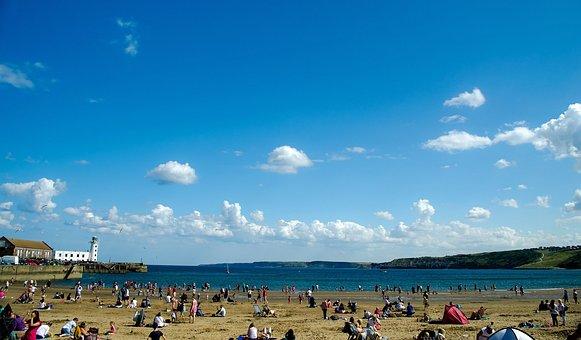 Beach, Sand, Shore, People, Sea, Waves, Tides