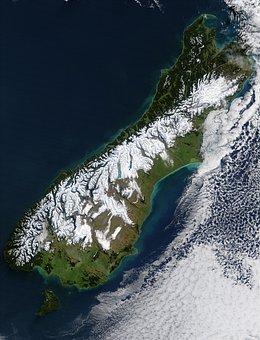 New Zealand, South Island, Satellite Photo