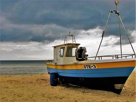 Stegna, Sea, Cutter, The Baltic Sea, The Coast, Beach