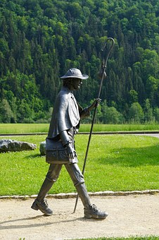 Wanderer, Hiking, Statue, Trail, Beuron, Germany