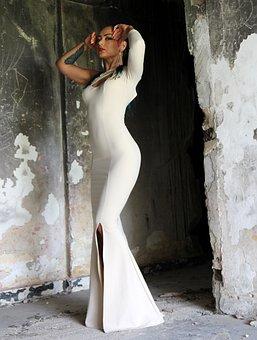 Girl, Dress, White, Ruins, Sensual, Forms