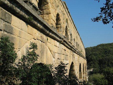 Architecture, France, Aqueduct, Pont Du Gard