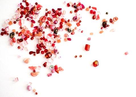 Beads, White Background, Background, Red, Orange, Pink