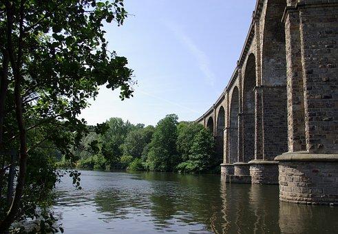 Bridge, Aqueduct, Eisenbahbruecke, Landscape, Lake