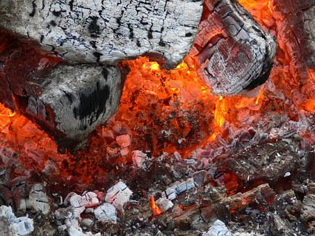 Embers, Fire, Hot, Wood, Beech Wood, Potato Fire