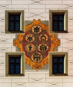 Coat Of Arms, Building, Munich, Germany, Facade