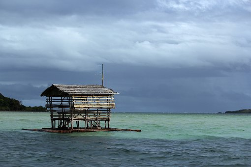 Picnic House, Floating House, Sea, Beach, Water, Nature