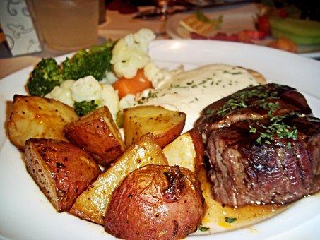 Steak, Potatoes, Food, Cuisine, Dish, Sirloin, Meal