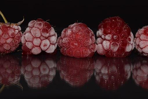 Raspberries, Frozen, Frosted, Cool, Frisch, Close, Red
