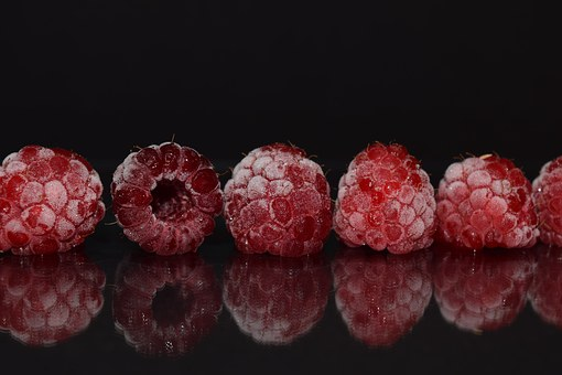 Raspberries, Frozen, Frosted, Close, Mirroring, Red