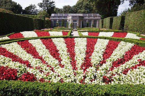 Garden, Rondelle, Flowers, Architectural Garden, Red