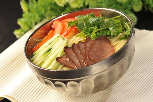 Korean Cold Noodles, Bacon, Coriander, Cucumber