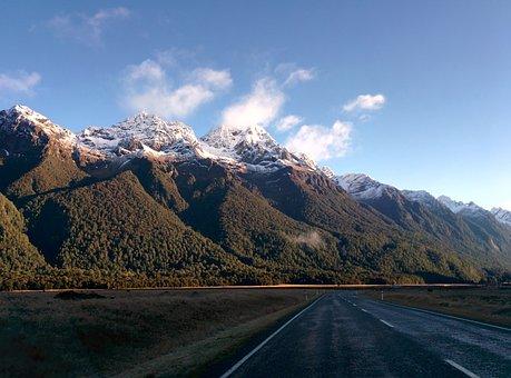 New Zealand, Mountains, Road, Landscape, Wilderness