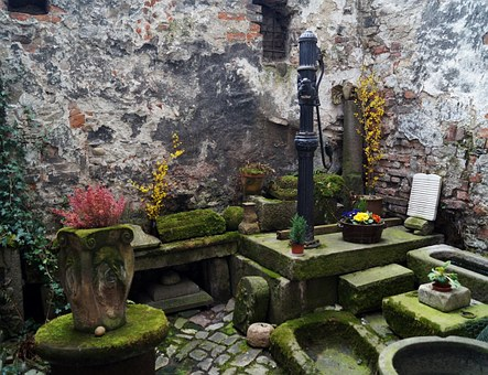 Backyard, Nooks And Crannies, Old, Mossy, Moss, Pump
