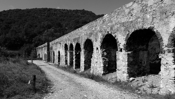Aqueduct, Former, Architecture, Old Stone, Ansignan