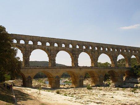 Bridge, Pont Du Gard, Summer, Aqueduct, Roman, Provence