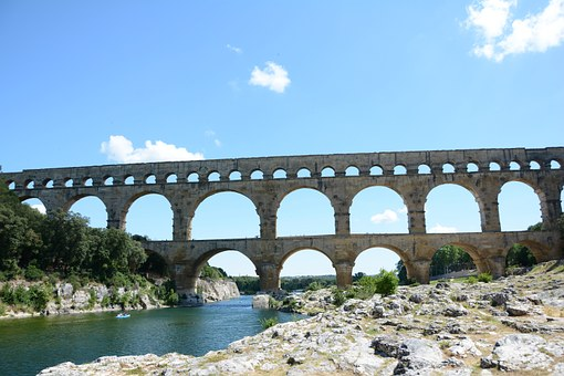 Pont Du Gard, Arch Bridge, France, Trip, Gardon River