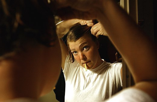 Mirror, Woman, Female, Combing, Hair, Preparing