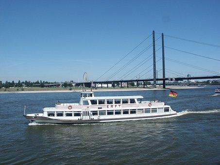Rhine, River, Ship, Amusement Ship, Suspension Bridge