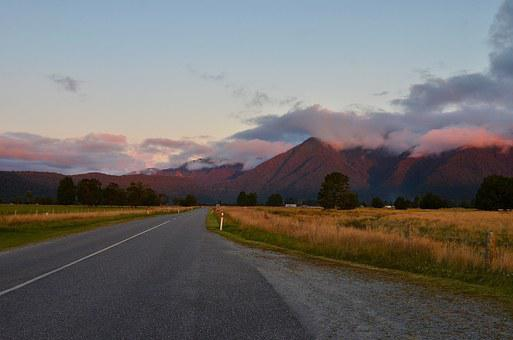Sunset, New Zealand, The Scenery, Mountain, Road, Cloud