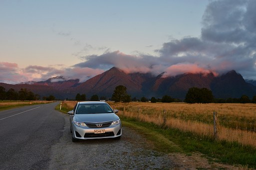 Sunset, New Zealand, The Scenery, Road, Automotive
