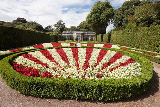 Rondelle, Flowers, Architectural Garden, Red, White