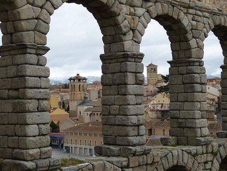 Aqueduct, Segovia, Spain, Historic Center, Castile