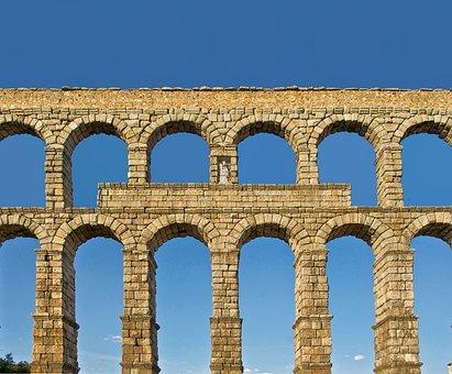 Segovia, Spain, Roman Aqueduct, Architecture, Sky