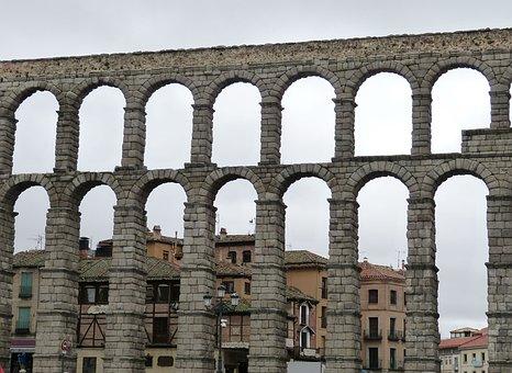 Aqueduct, Viaduct, Segovia, Spain, Castile