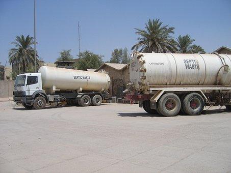 Truck, Iraq, Water, Sand, Septic Waiste