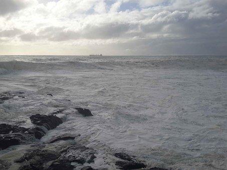 Foamy, Sea, Sky, Clouds, White, Wave, Coast, Seaside