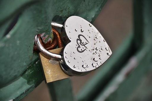 Padlock, Heart, Close, Key, Antique, Lock, Security