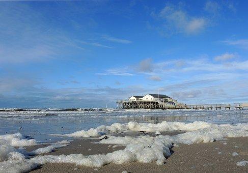 North Sea, Sea, Holiday, Beach, Pile Construction