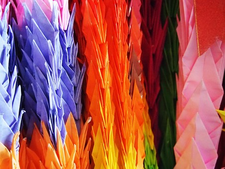 Japan, Paper Cranes, Blessing, Go, Color, 繽 紛, Beauty